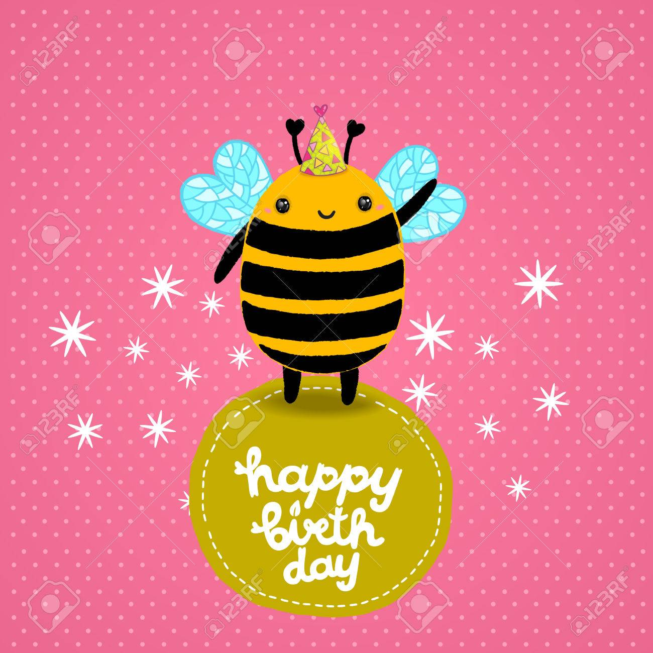 happy birthday card background a bee vector holiday party happy birthday card background a bee vector holiday party template stock vector 29315663