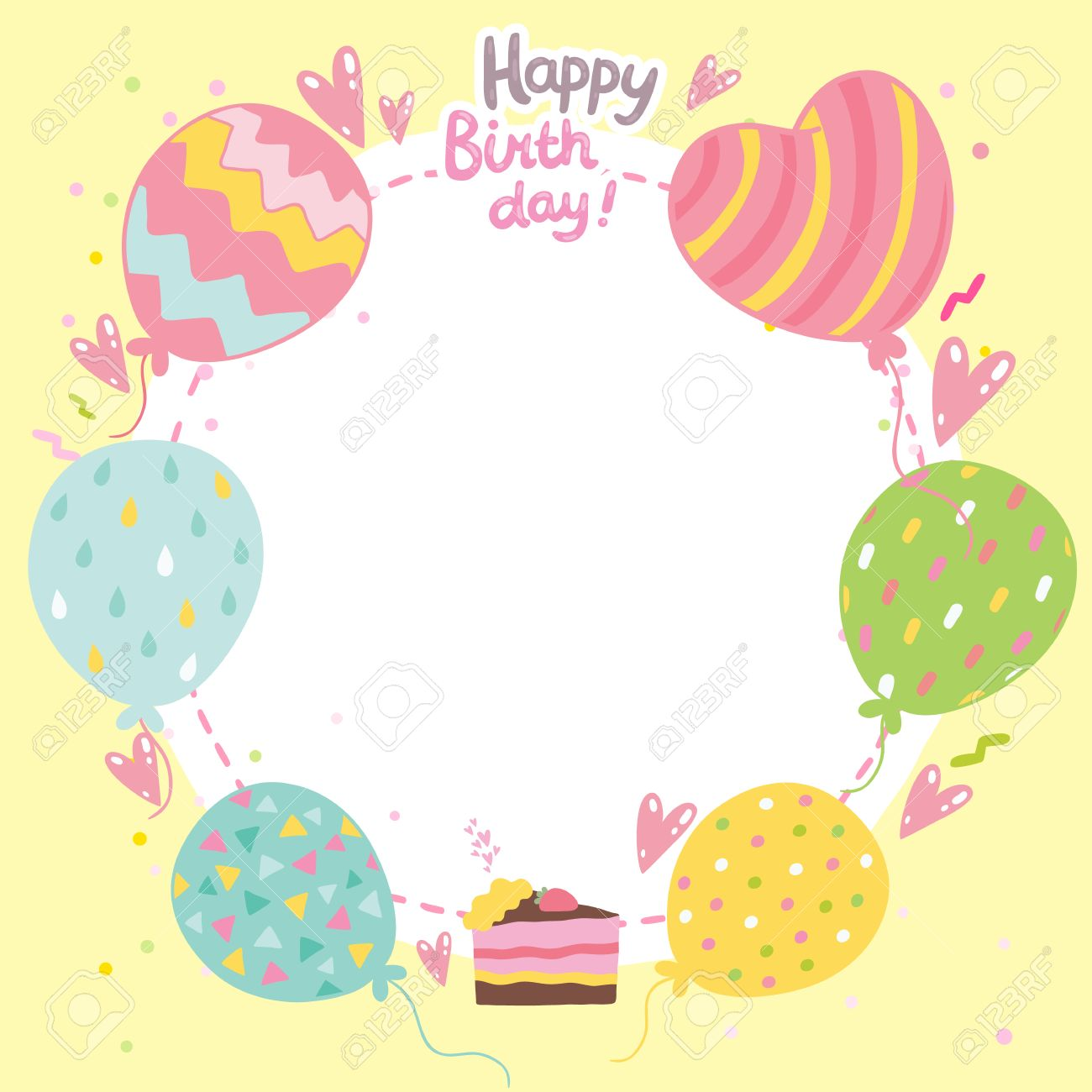 Happy Birthday Card Background With Cake And Balloons Vector