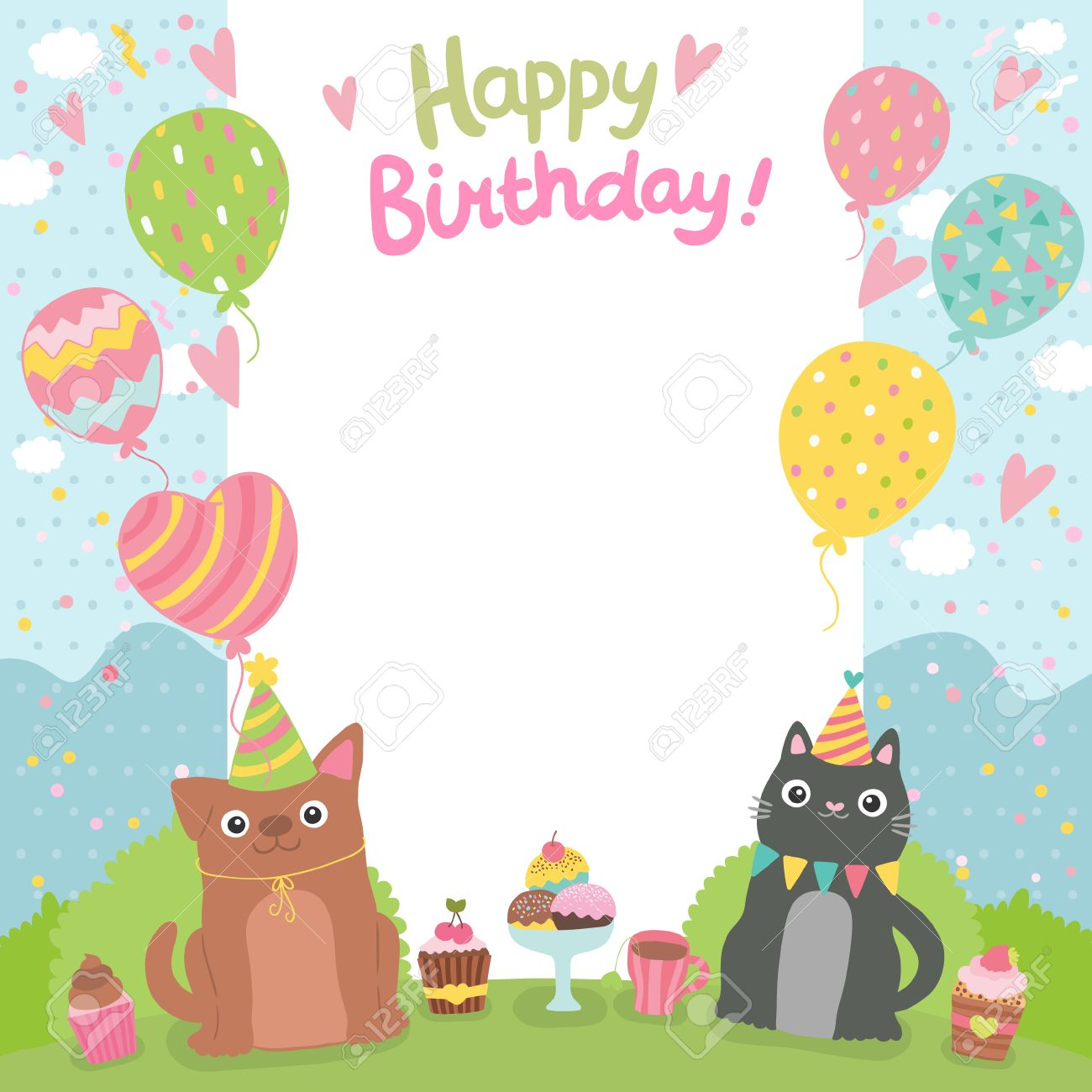 Merveilleux Happy Birthday Card Background Withdog And Cat. Vector Holiday Party  Template Stock Vector   29385358