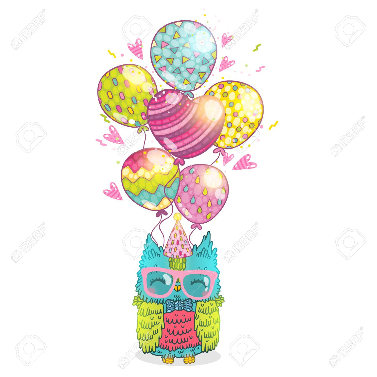 Happy Birthday Greeting Background With An Owl Vector Illustration
