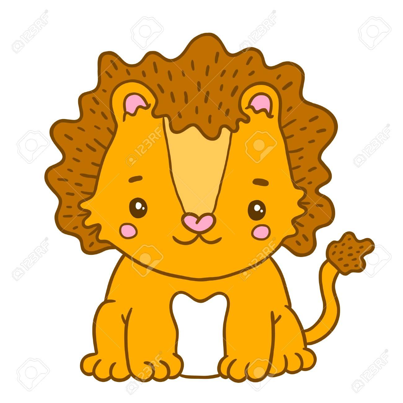 赤ちゃんライオンのかわいい漫画。動物イラスト ロイヤリティフリー