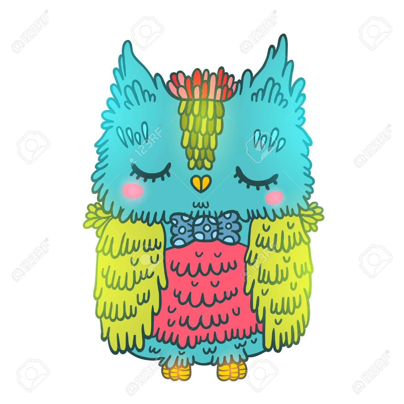 かわいい漫画のカラフルなフクロウ。動物イラスト ロイヤリティフリー