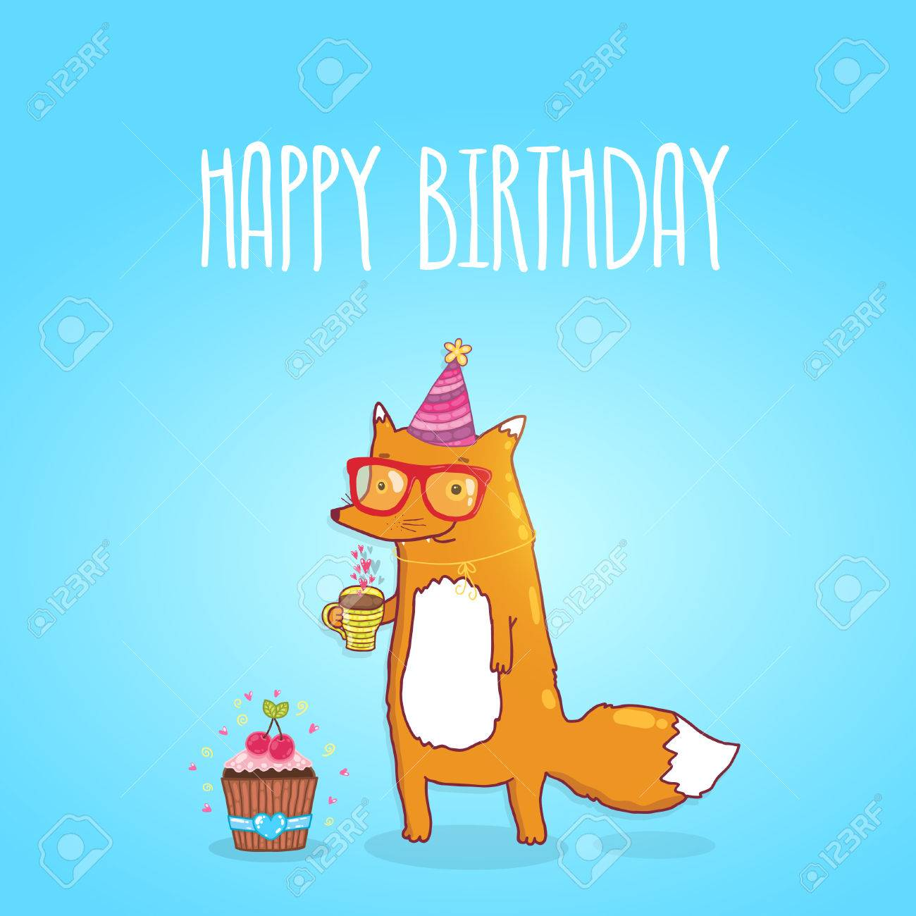 happy birthday card background cute cartoon hipster fox happy birthday card background cute cartoon hipster fox holiday party template greeting postcard