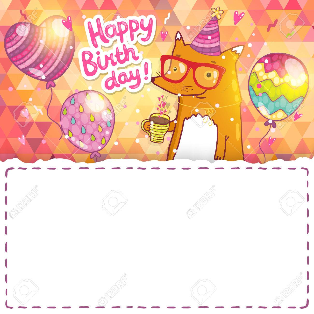 Happy Birthday Card Background With Cute Cartoon Hipster Fox