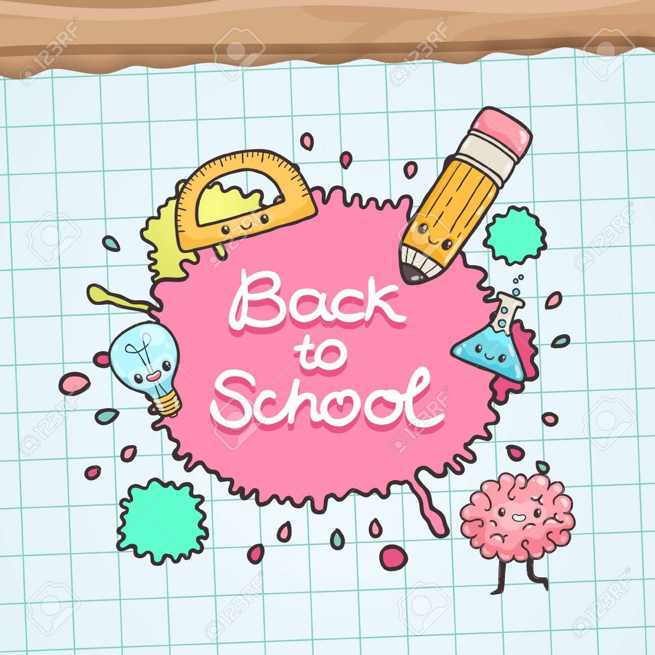 Cute Cartoon Characters Back To School Background Royalty Free Cliparts Vectors And Stock Illustration Image 31289202