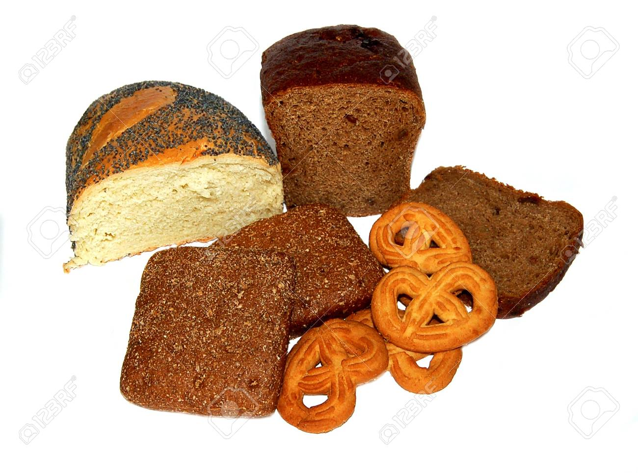 different bread, buns, cookies on a white background Stock Photo - 7267553