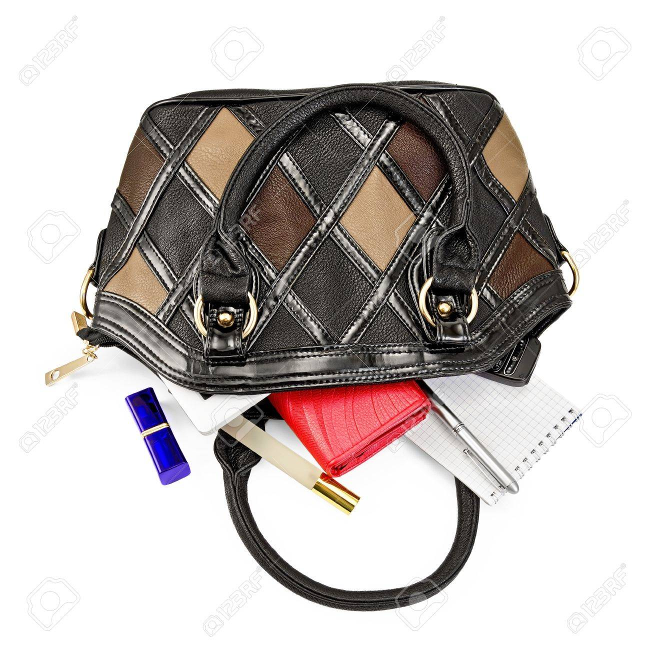 Open Ladies Leather Handbag, Red Purse, Perfume, Lipstick, Phone ...