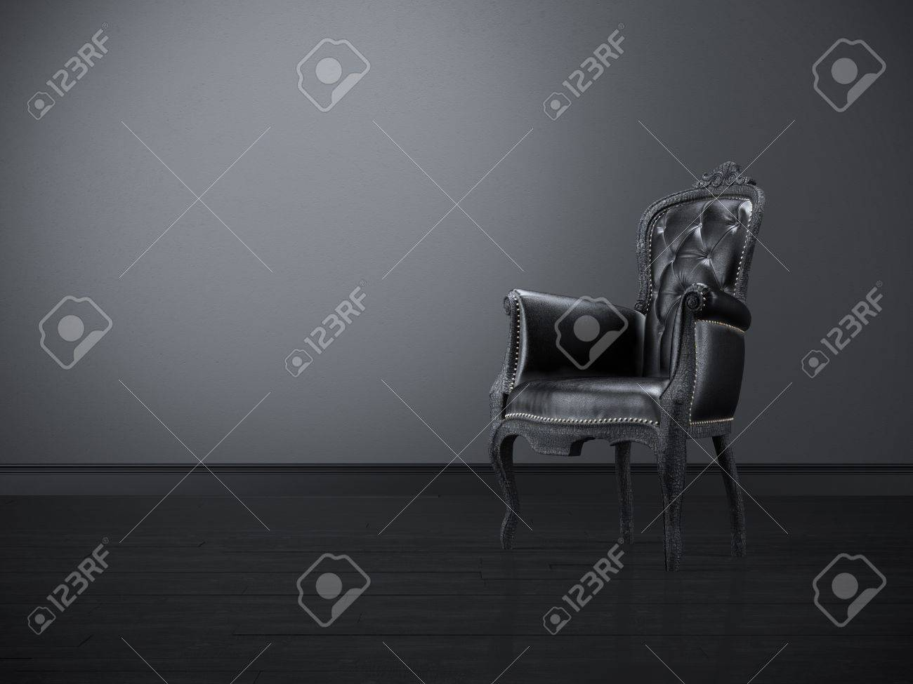 Black and white chair photography - Stock Photo Vintage Black Chair In The Dark Room