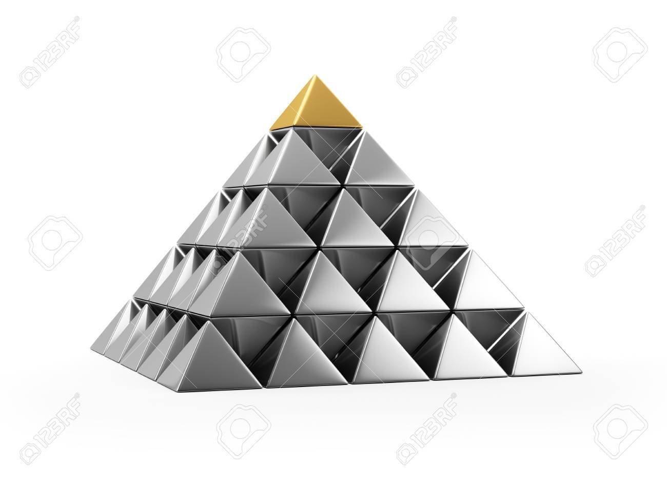 Pyramid Of Shiny Silver Small Pyramids Stock Photo, Picture And ...