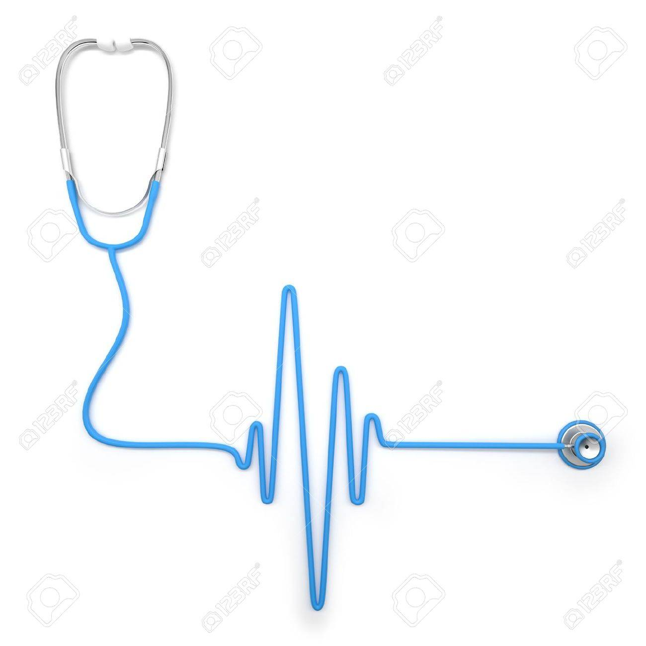 Stethoscope in shape of electrocardiogram line Stock Photo - 16318013
