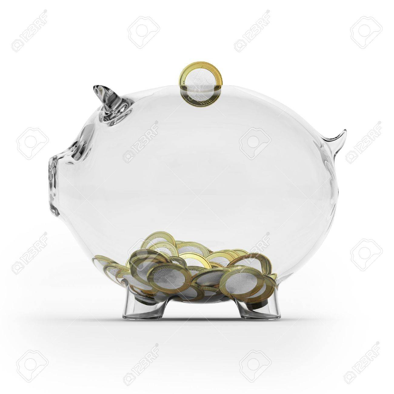Glass piggy bank with euro coins  Side view Stock Photo - 16318028