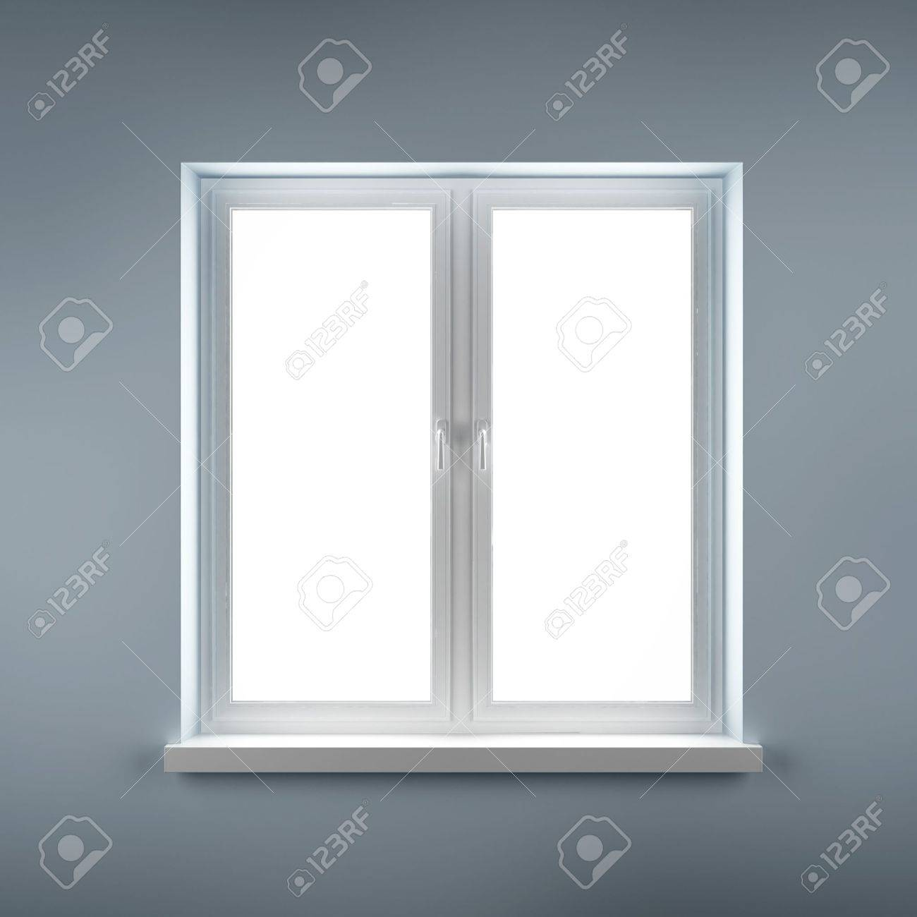 Closed plastic window on blue wall Stock Photo - 16633405