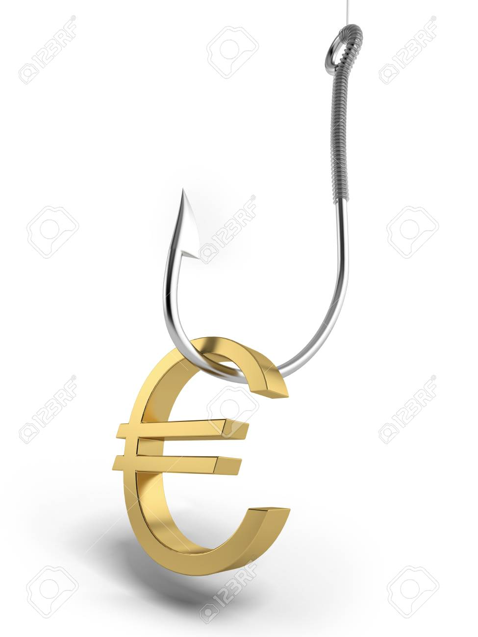 Fishing hook with golden symbol of euro Stock Photo - 16762688