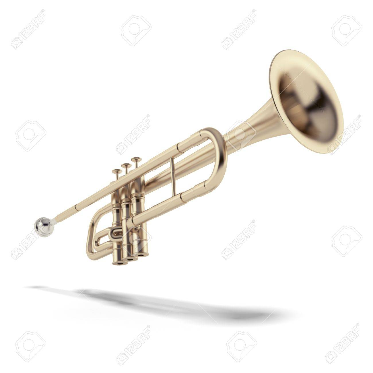 Gold trumpet isolated on a white background Stock Photo - 17082059