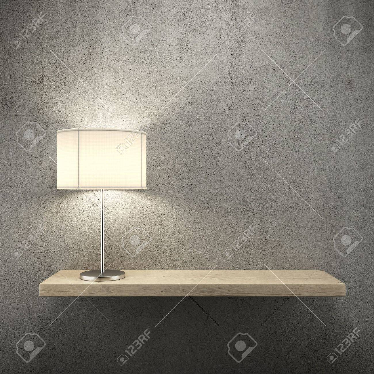 Bookshelf On The Wall With Lamp 3d Render Stock Photo