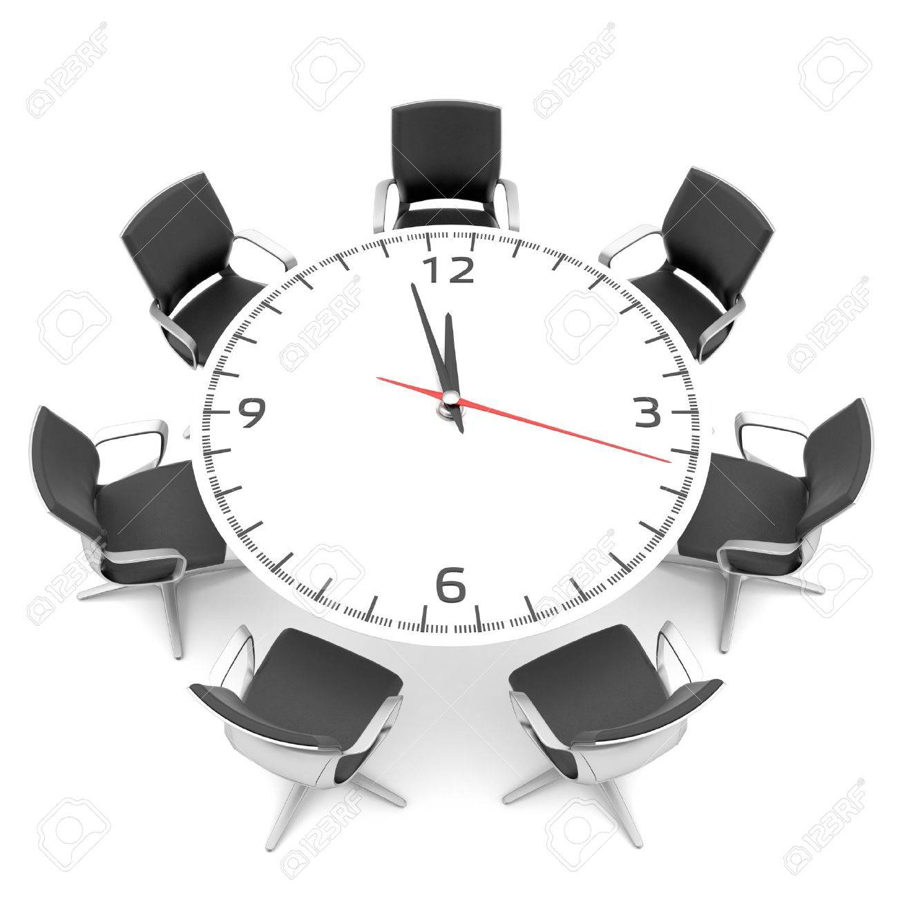 Round Table With A Large Clock Face Stock Photo Picture And Royalty