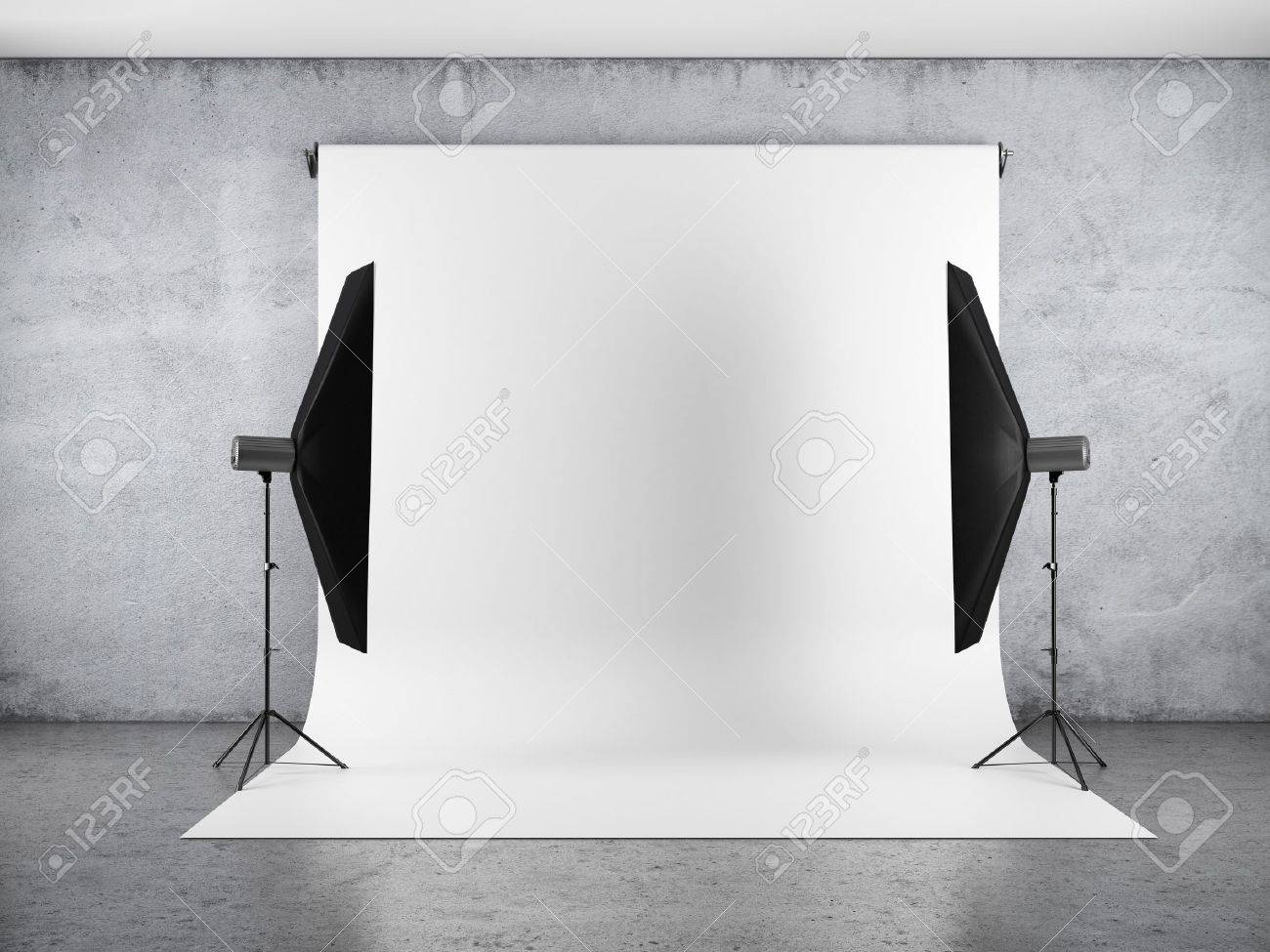 Blank backdrop and two softboxes Stock Photo - 19549229