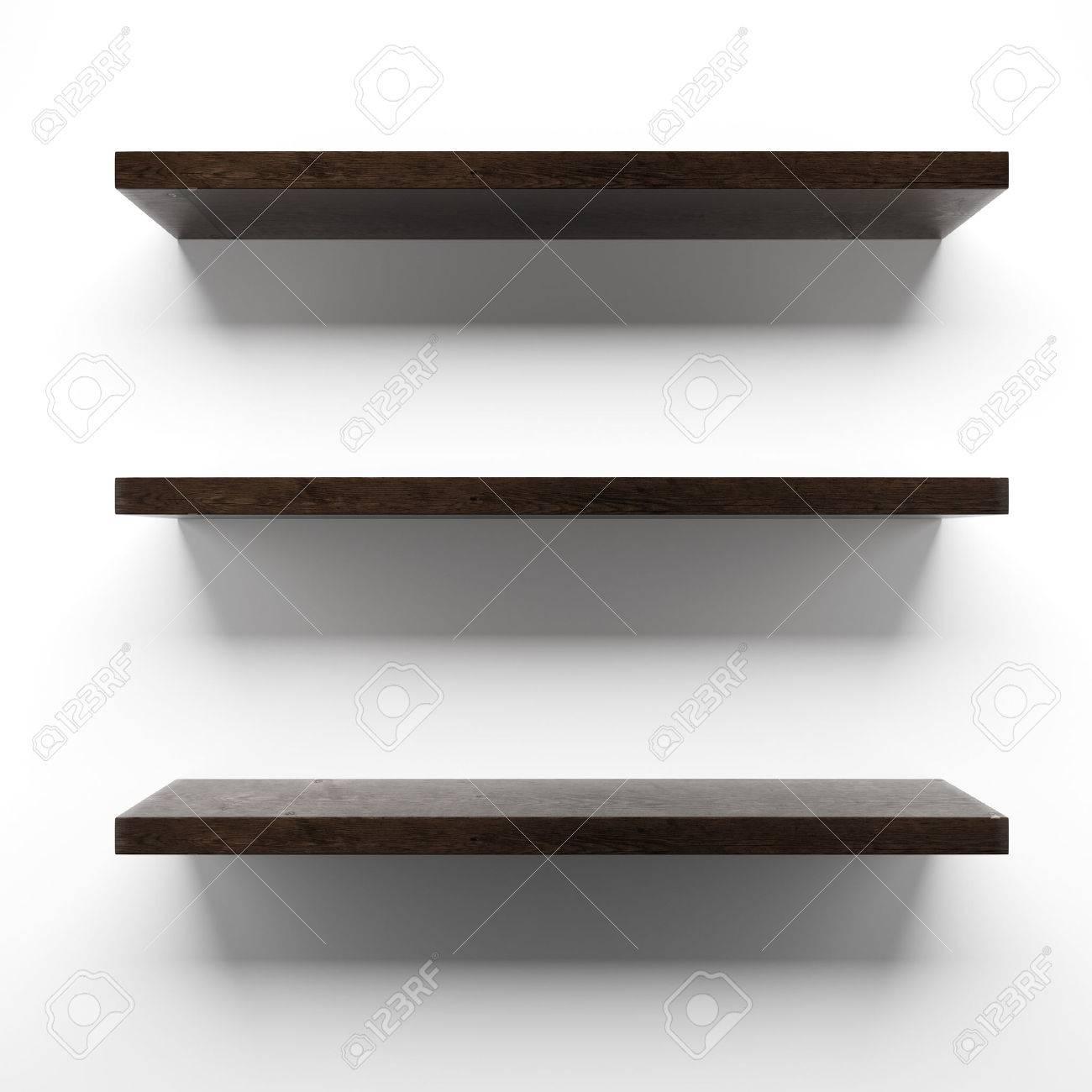 Witte Planken Aan De Muur.Lege Houten Planken Aan De Muur Geisoleerd Op Een Witte Achtergrond