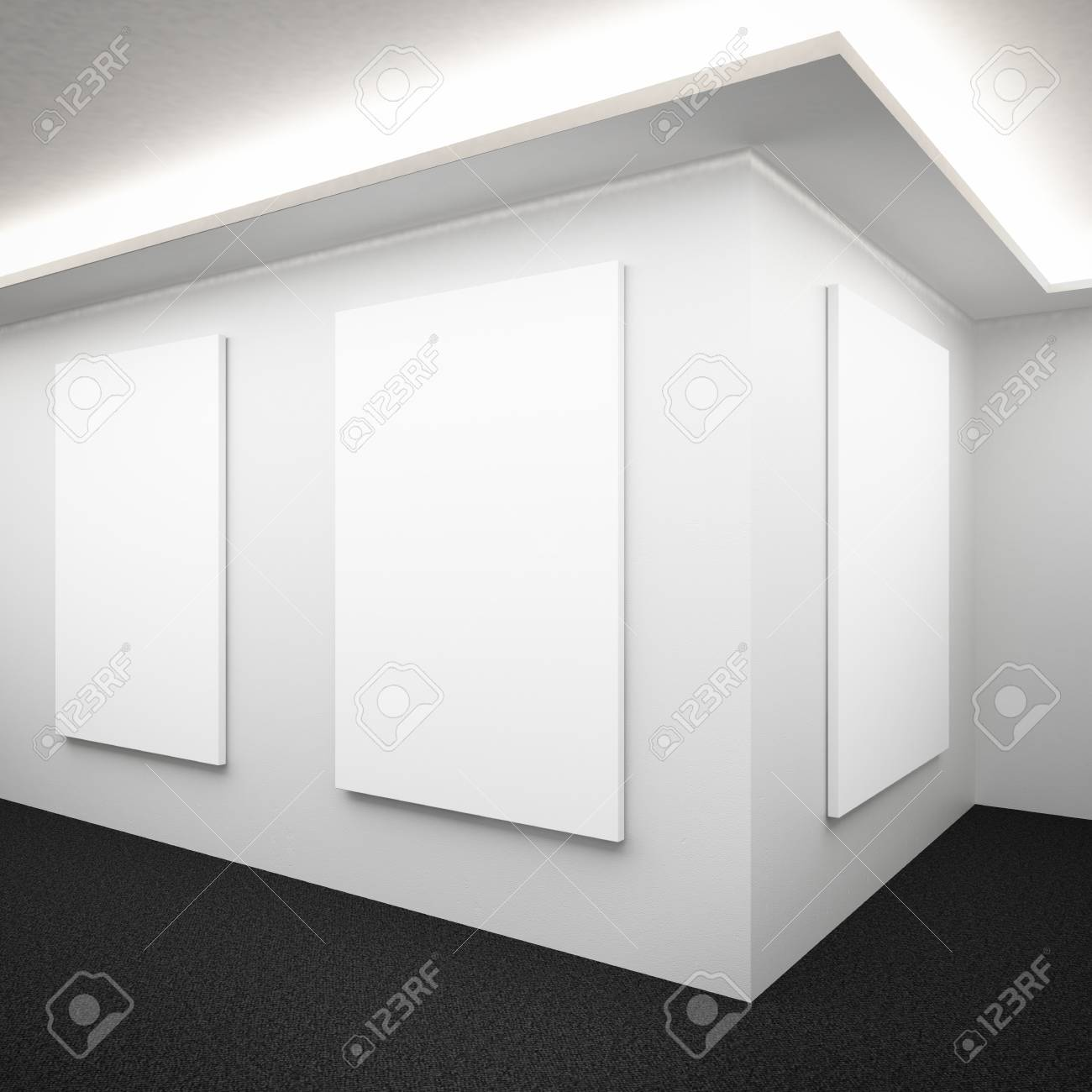 White Gallery Interior With Frames Stock Photo, Picture And Royalty ...