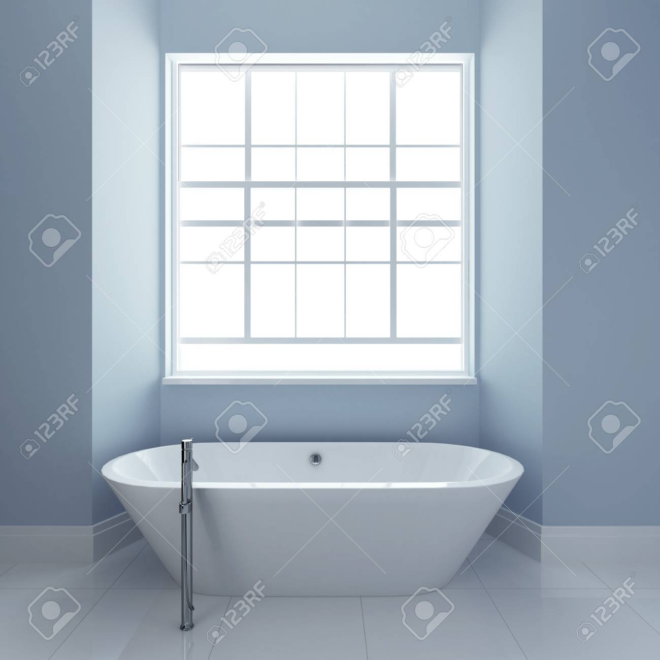Bathroom With Tub And Windows 3d Render Stock Photo, Picture And ...