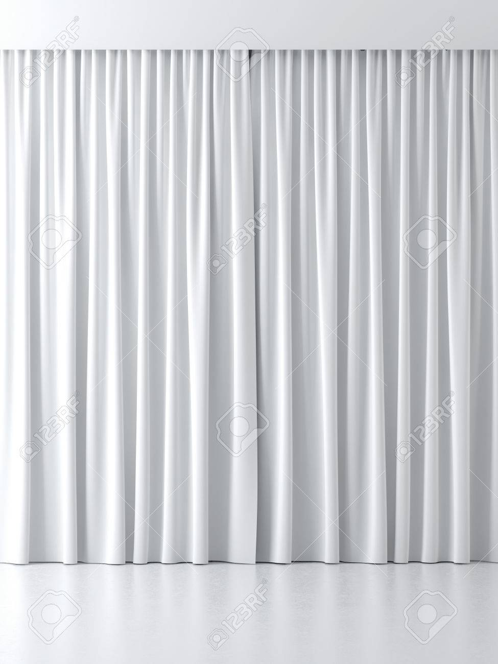 White Curtains Isolated On A White Background Stock Photo, Picture