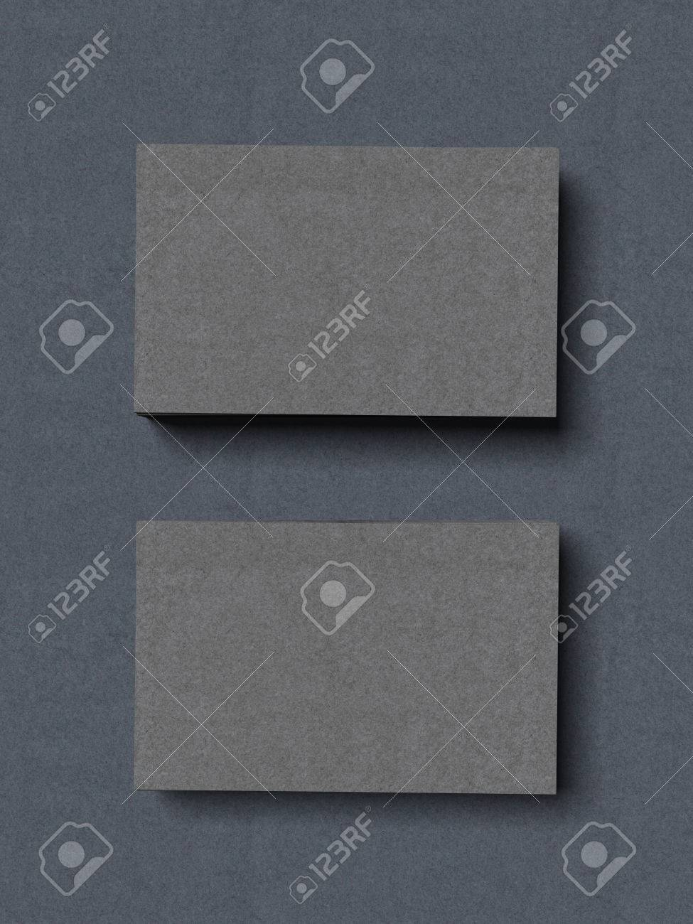 Two Stacks Of Grey Business Cards Isolated On A Blue Background ...