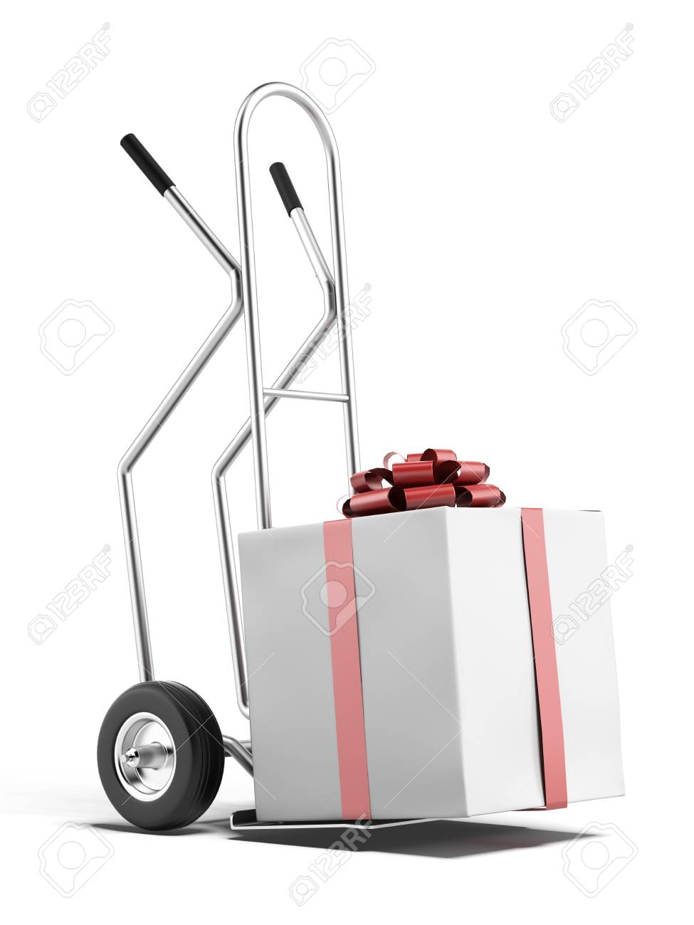 hand truck with gift box isolated on a white background. 3d render Stock Photo - 23440226