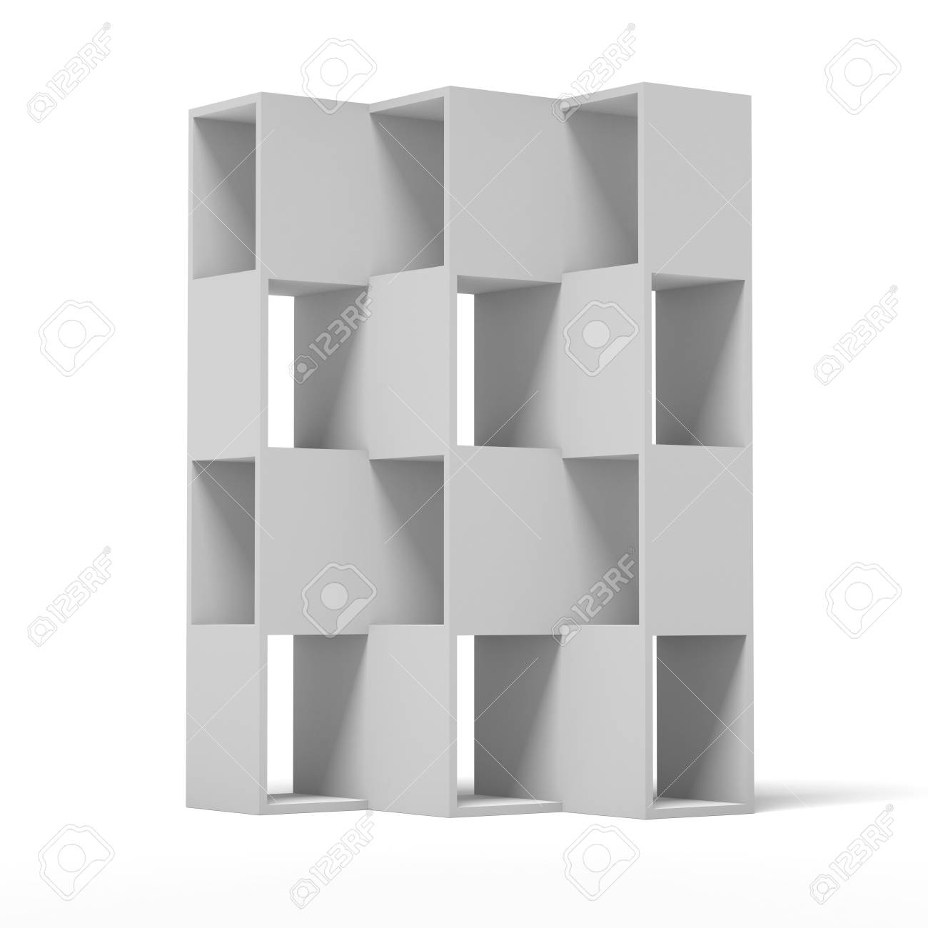 white wooden bookshelf  isolated on a white background. 3d render Stock Photo - 23440289