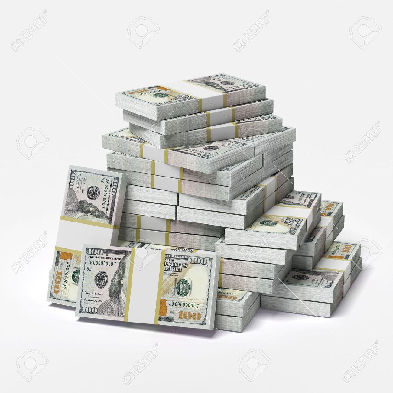 großen Haufen von Dollar auf einem weißen Hintergrund. 3d render Standard-Bild - 26126299