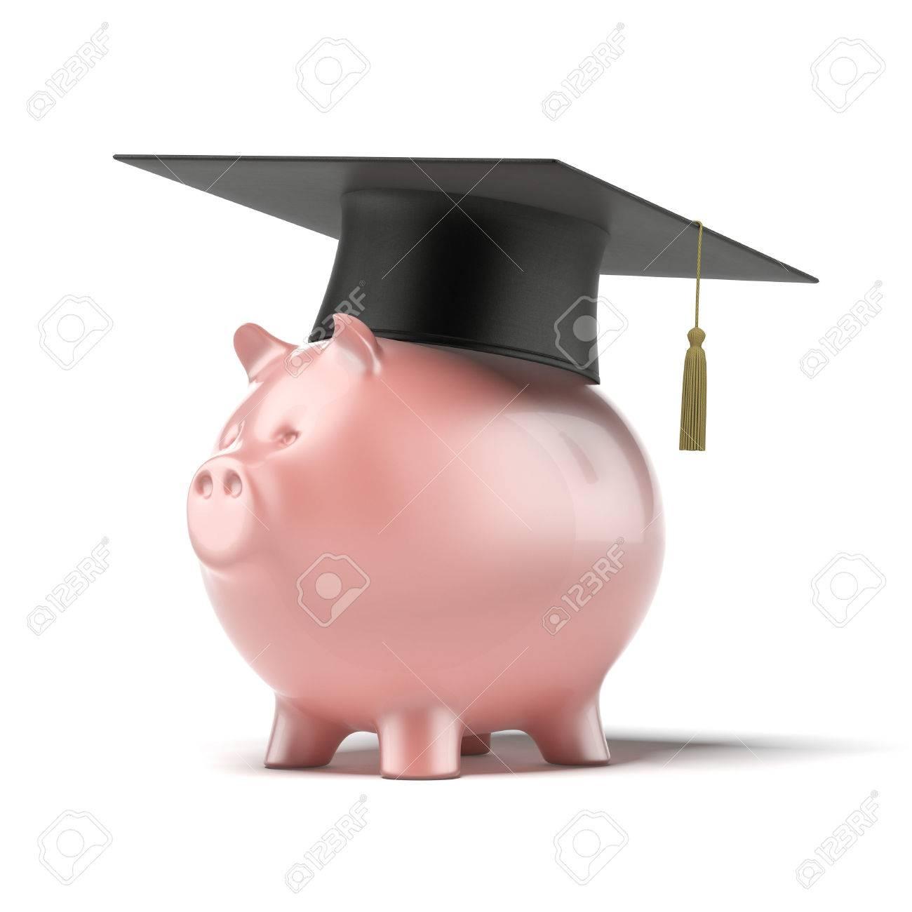 Piggy Bank Mit Schwarzem Abschluss Hut Auf Einem Weißen Hintergrund