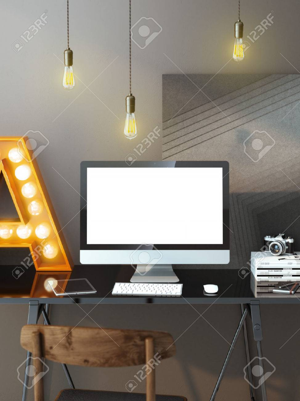 workspace lighting. Modern Workspace With Computer And Light Bulbs Stock Photo - 34560920 Lighting