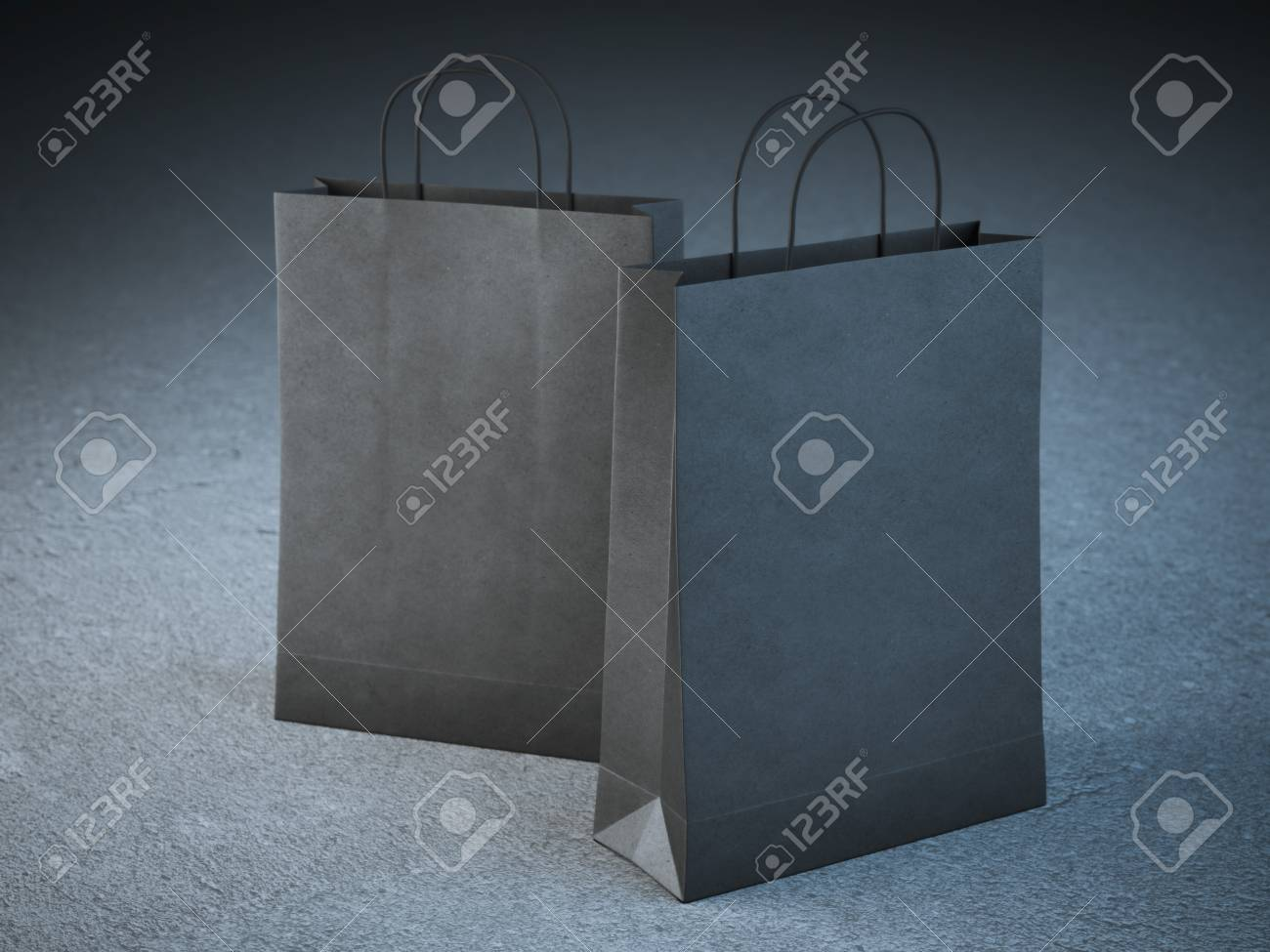 Two Black Paper Bags With Handles On Floor Stock Photo Picture And