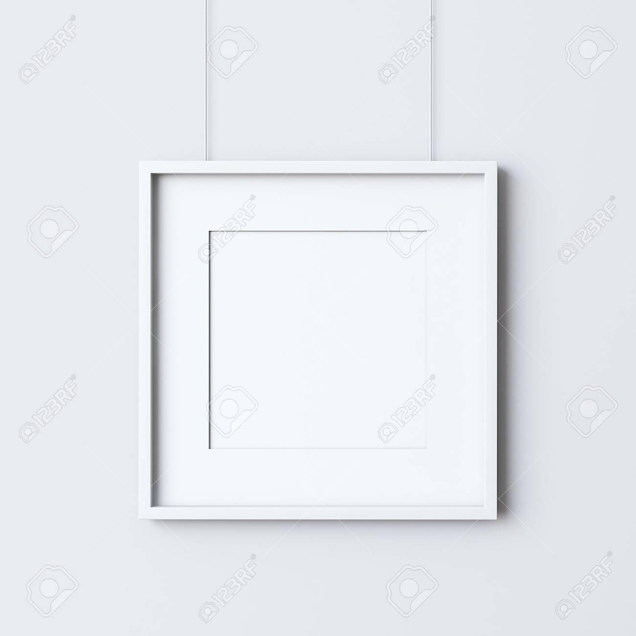 Leere Quadratischen Rahmen Auf Der Weißen Wand Hängen Lizenzfreie ...