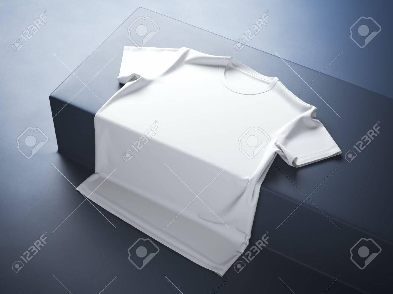 White t-shirt in the blue modern studio - 44125801