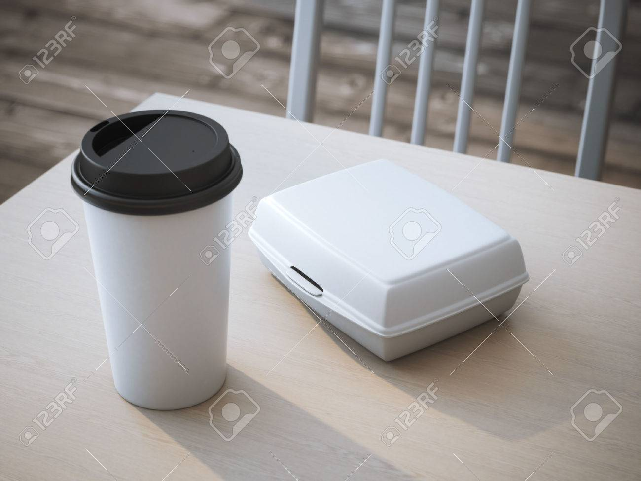 White lunch box with blank paper cup of coffee. 3d rendering - 44125797
