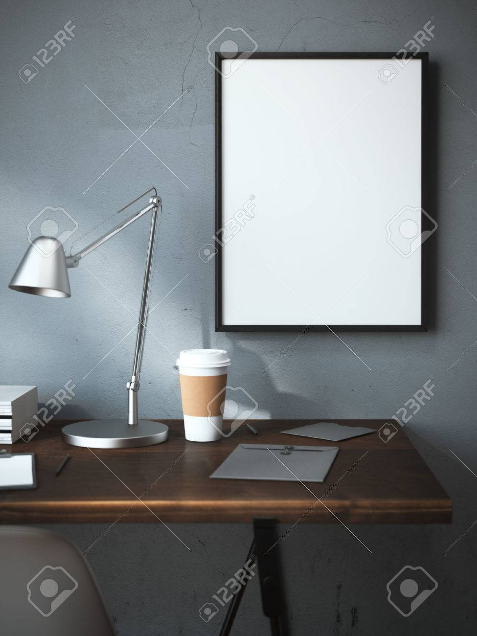 Workplace with cup and blank frame on the wall. 3d rendering - 47062928