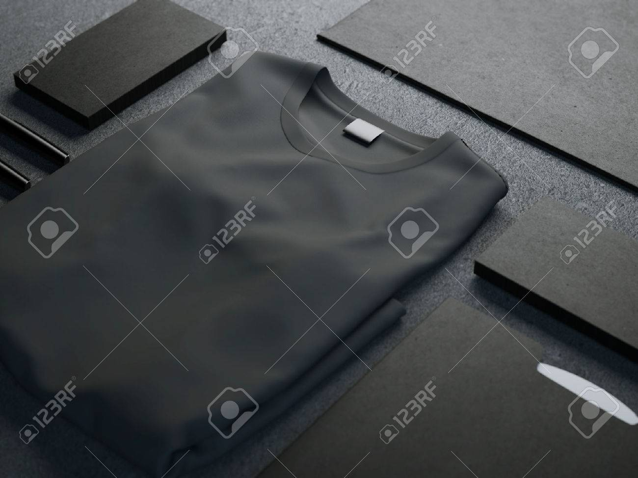 Dark mockup with blank t-shirt and business cards - 47063005