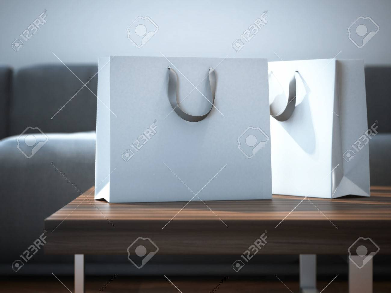 Ttwo white packages on a wooden table. 3d rendering - 47062976