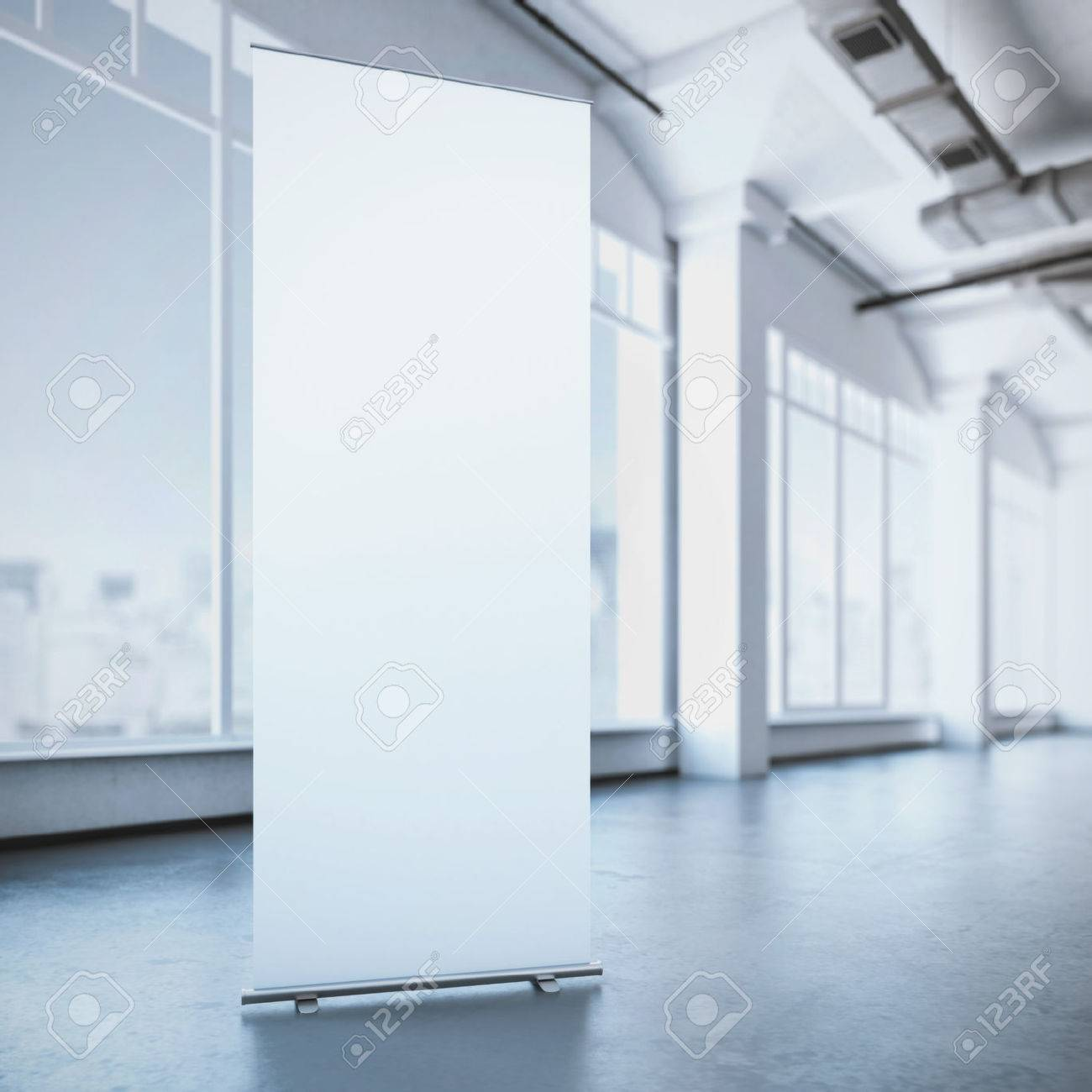 White roll up banner in a modern loft interior. 3d rendering - 47062949