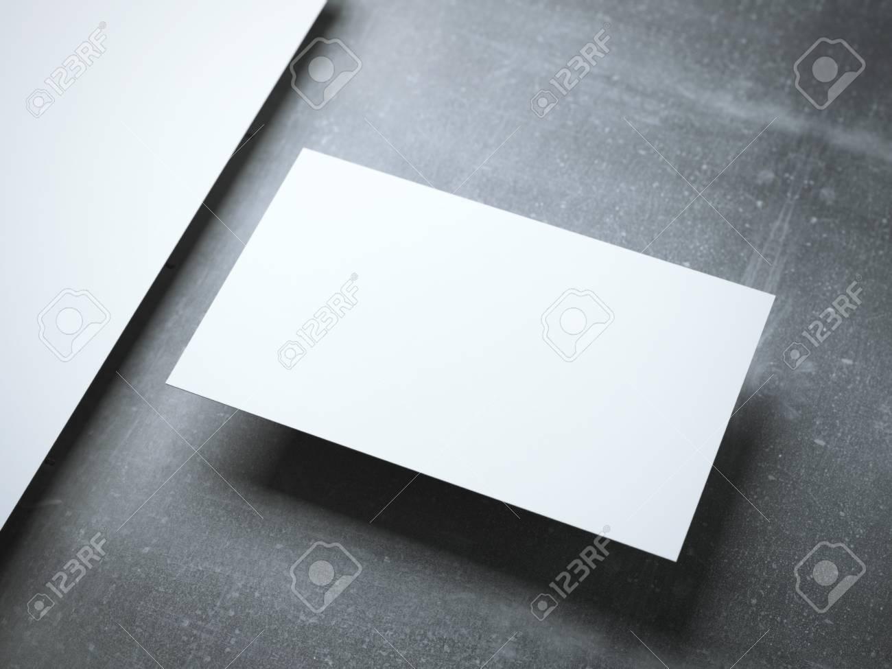 Carte De Visite Vierge Sur Le Plancher Metallique Rendu 3d Banque D