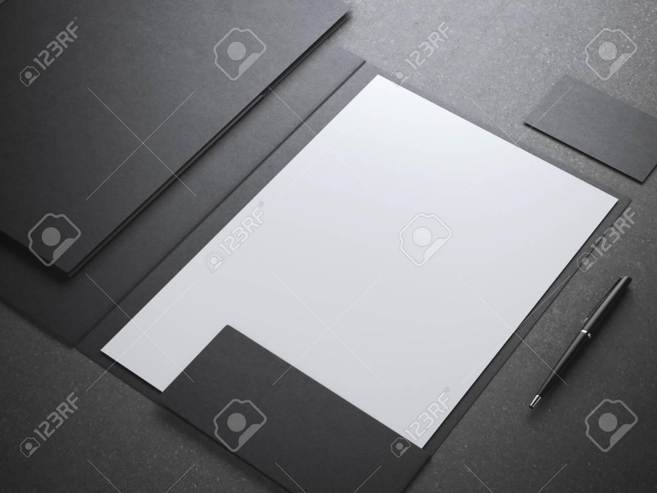 Blank white shhet in black folder. 3d rendering - 50567958