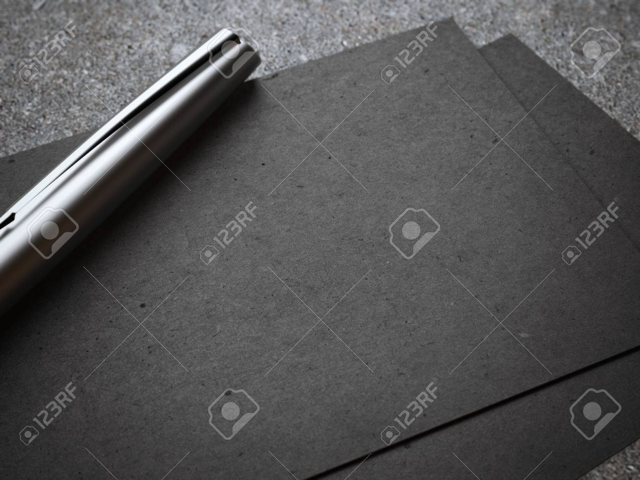 Black Business Card With Luxury Silver Pen 3d Rendering Stock Photo