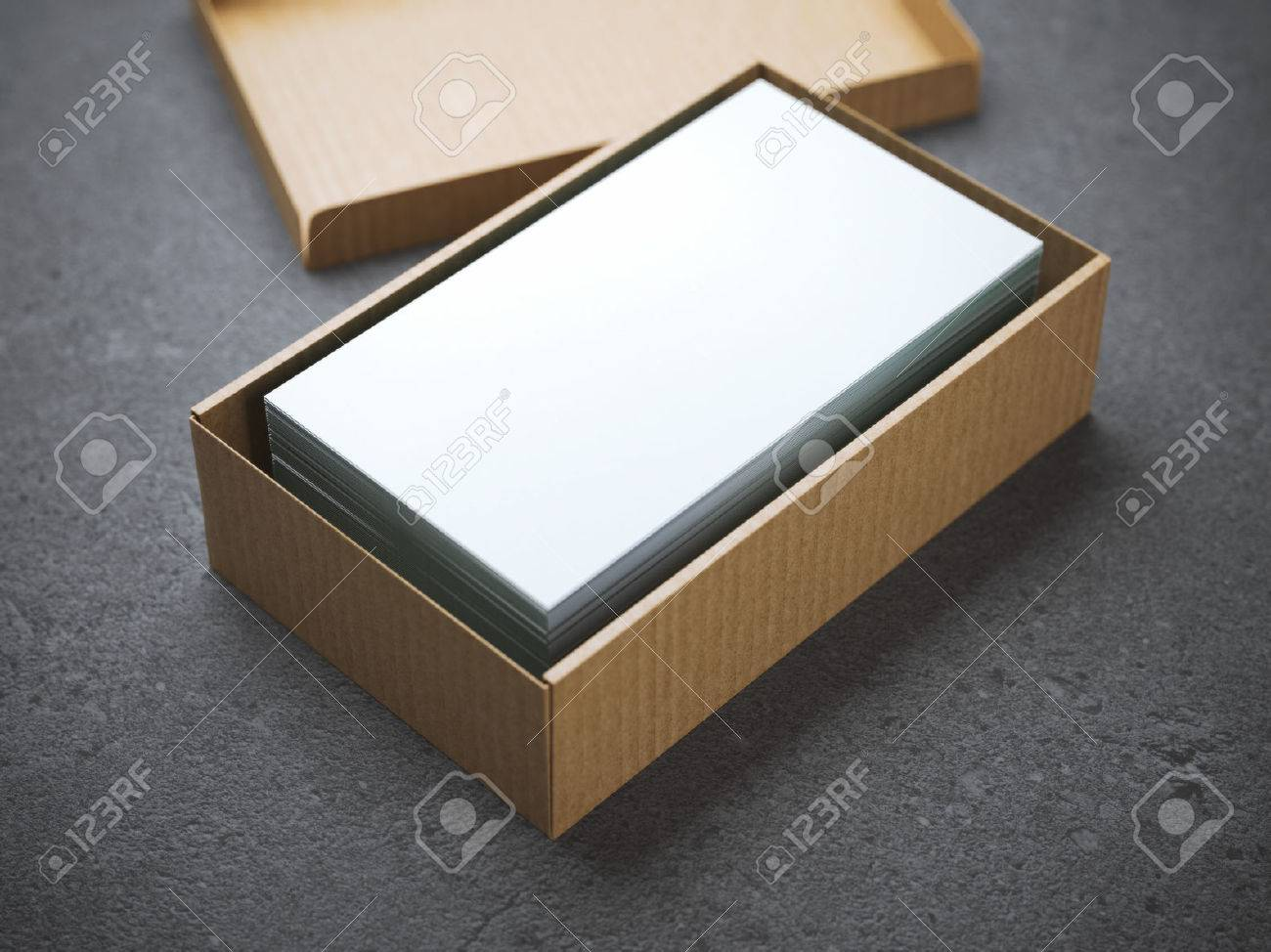 Stack Of Business Cards In Cardboard Package Stock Photo, Picture ...