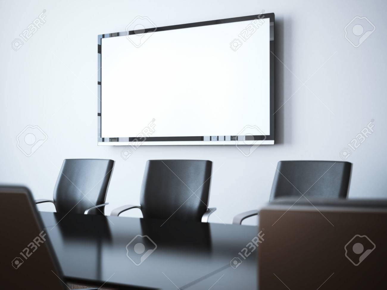 Modern office interior with blank tv screen. 3d rendering - 55278895