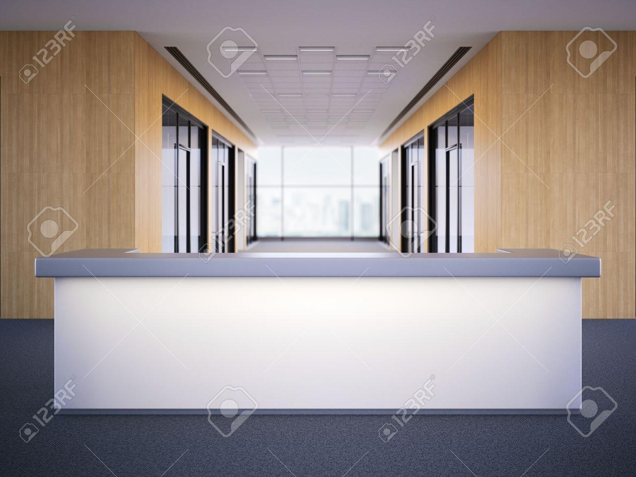 Hall de bureau avec un bureau de réception de l éclairage rendu