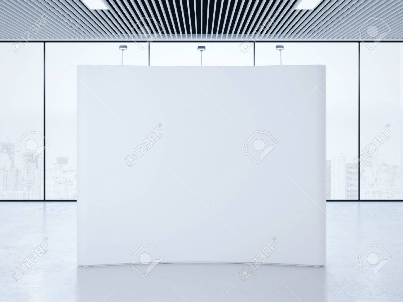 White blank trade show booth in bright interior. 3d rendering - 57192815