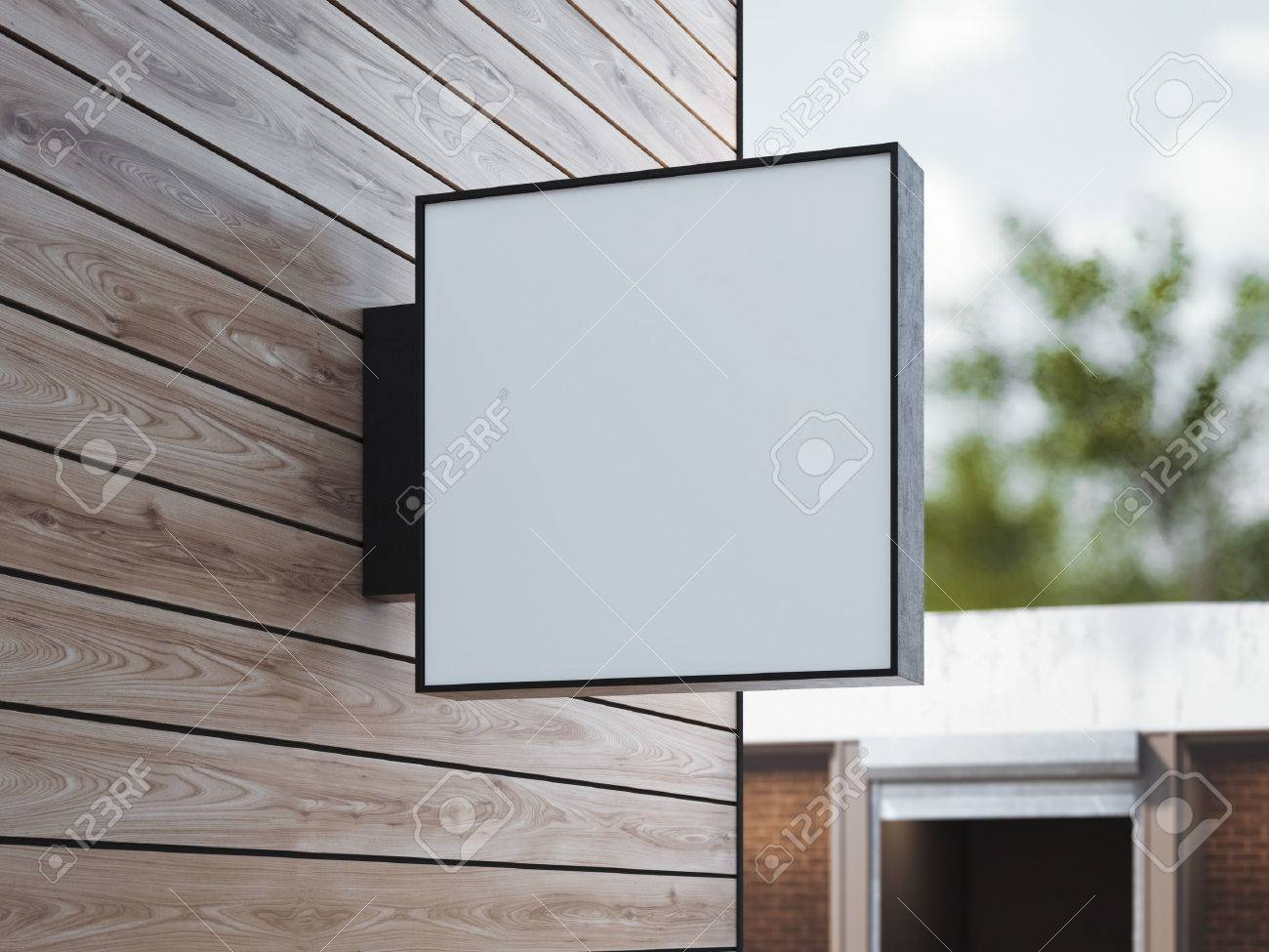 White square signboard on the wooden wall. 3d rendering - 60340092