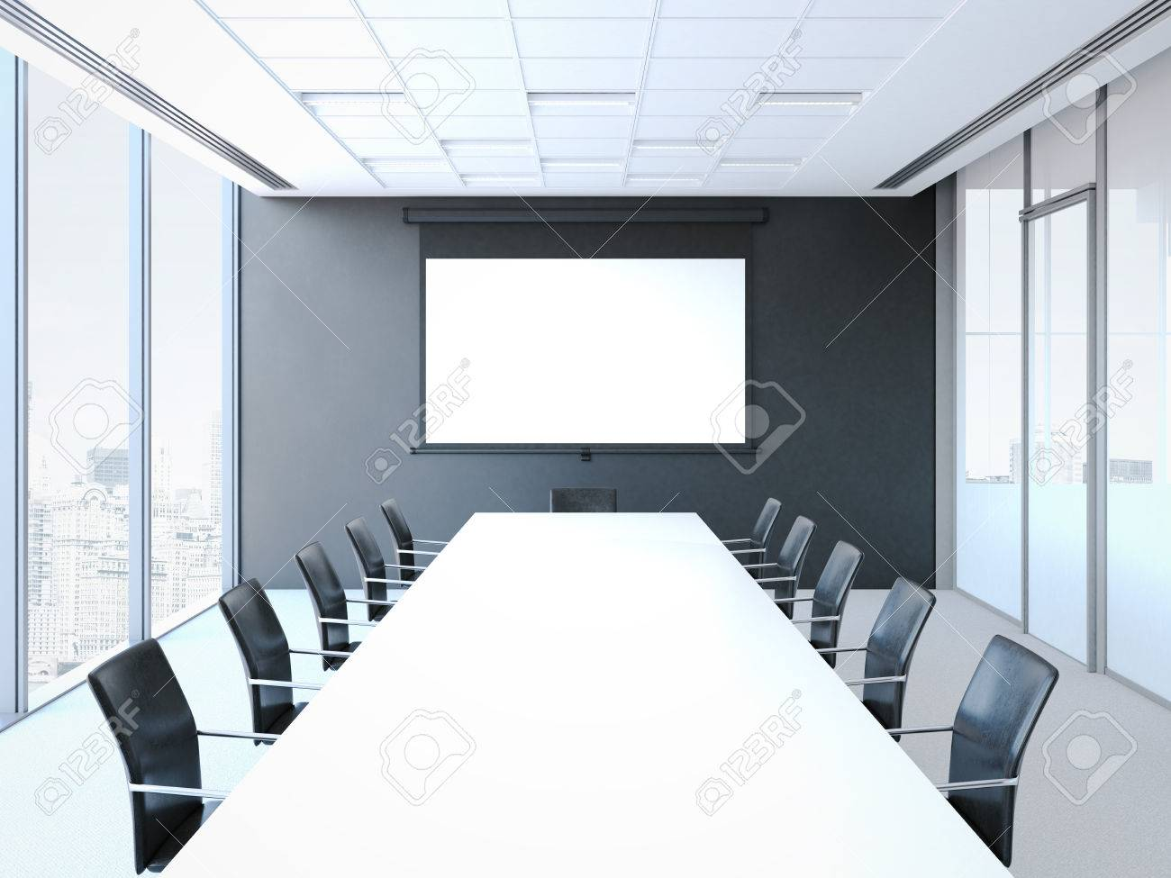 Conference Room With White Table Black Chairs And Projector Stock - Black conference room table