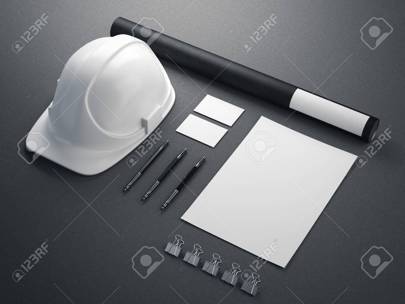 Modern branding mockup with white helmet. 3d rendering - 62488590