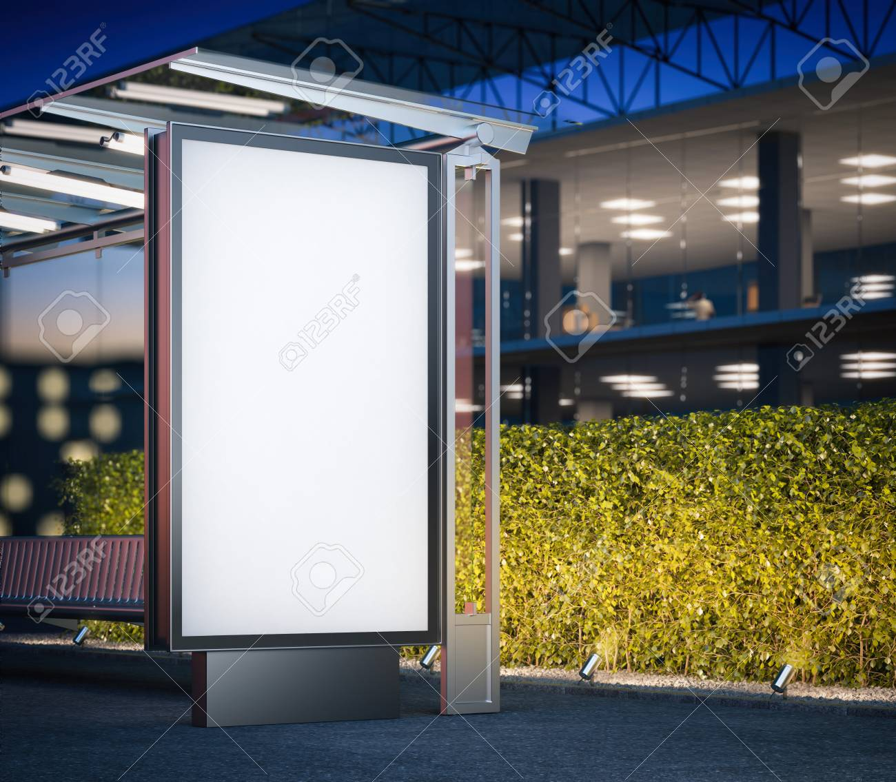Modern bus stop with blank billboard near office building at night. 3d rendering - 62488660